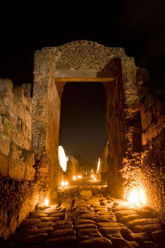 Pompeii at night--Naples, Italy.  Run away from home to Italy, like I did ;-)  It's worth it, I promise!  #toursouthernitaly #travel #bucketlist #golfandwinetours #winetours #naples #pompeii