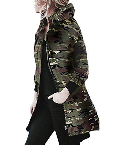 Militaire Veste Manches À Capuchon Longues Zippé Femme Vestes SUqMLzVpjG