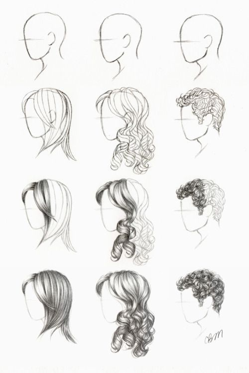 How To Draw Different Types Of Hair Techniques Pinterest - Hairstyle drawing tumblr