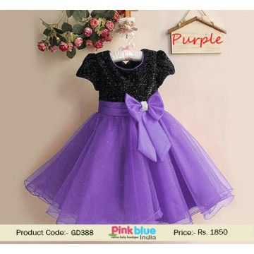 40717f885 Black and Purple Baby Wedding Outfit - Designer Partywear Dress for Kids, Princess  Birthday Outfit, Kids Clothing Collection 2016, Infant Girl Casual Dress ...