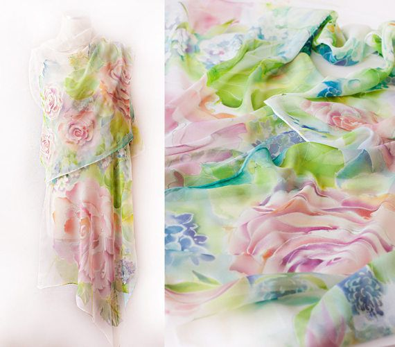 Wedding Cover Up Silk Shawl Roses and Hortensia Hand Painted