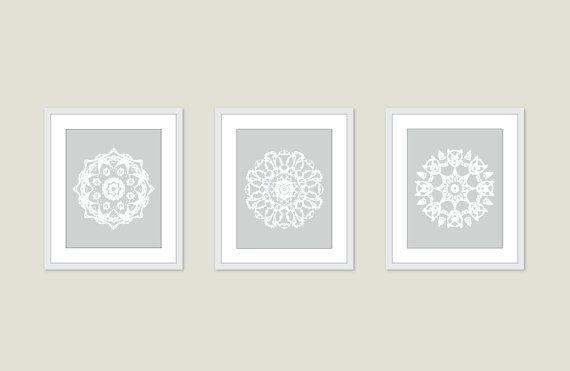 Mandala Art Prints - Medallion Wall Art - Set of 3 - Modern Home ...