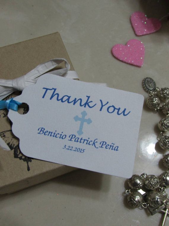 Check out this item in my Etsy shop https://www.etsy.com/listing/233644682/personalized-favor-tags-2-12baptism-tags