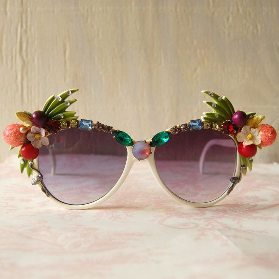 Vintage Quirky Rhinestone and Fruit Sunglasses