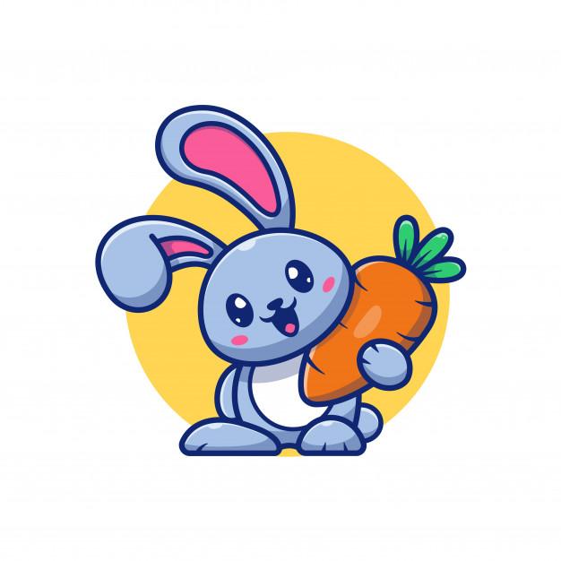 Cute Rabbit And Carrot Icon Illustration Bunny Logo Mascot Cartoon Character Animal Logo Concept White Isolated Cute Bunny Cartoon Bunny Logo Vector Icons Illustration