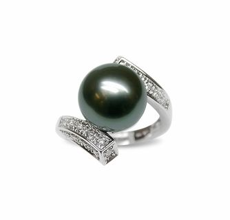 Fine Jewelry Black Cultured Freshwater Pearl & Tahitian Pearl Ring imIVzOuKP2