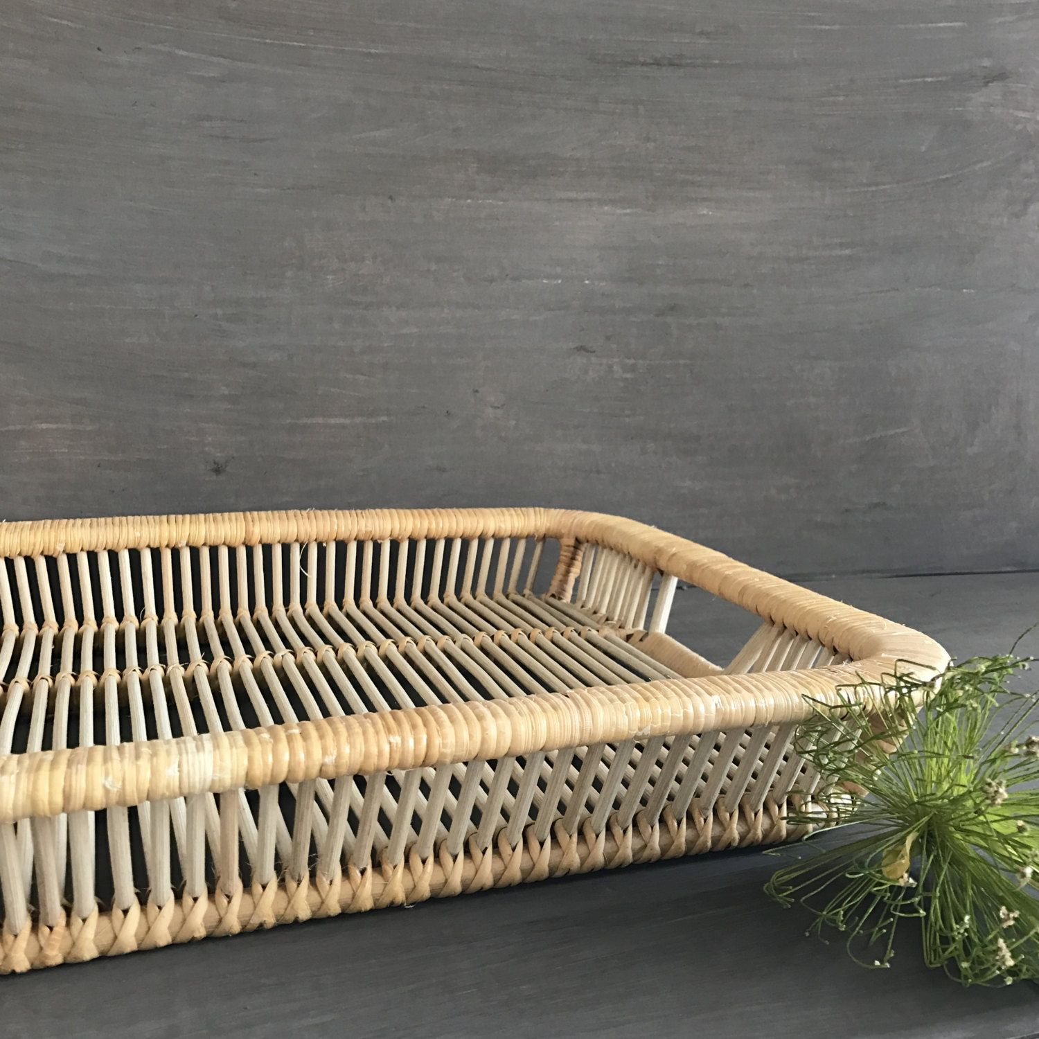 Rattan Coffee Table Etsy: Vintage Rattan Woven Cane Serving Tray Basket