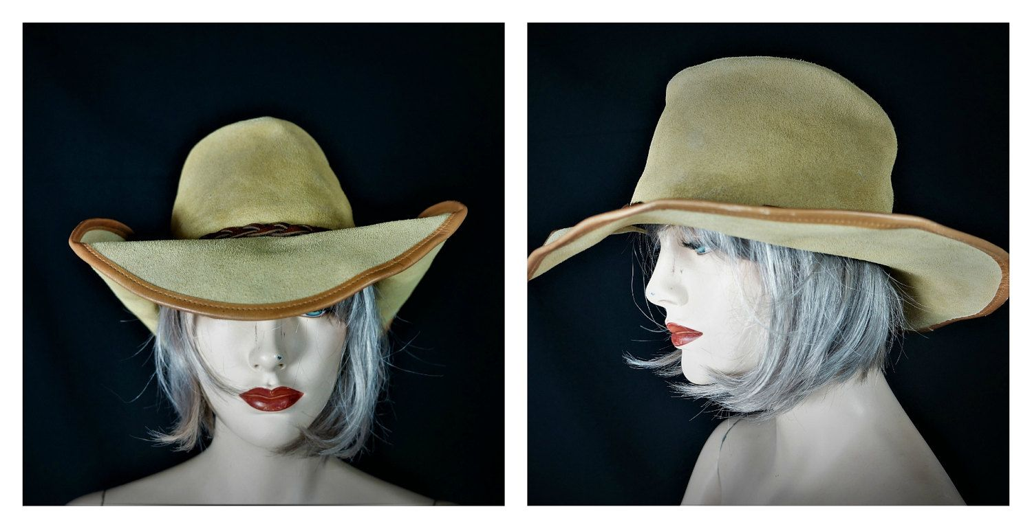 be02839c67d Suede Hippie Hat Wide Brim FLOPPY Hat   Vintage 70s LEATHER Boho Hat   60s  Leather
