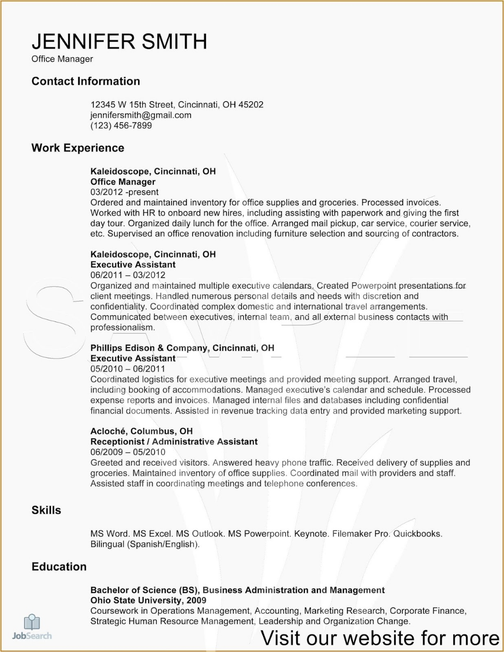 Office Administrator Resume Sample 2020 office
