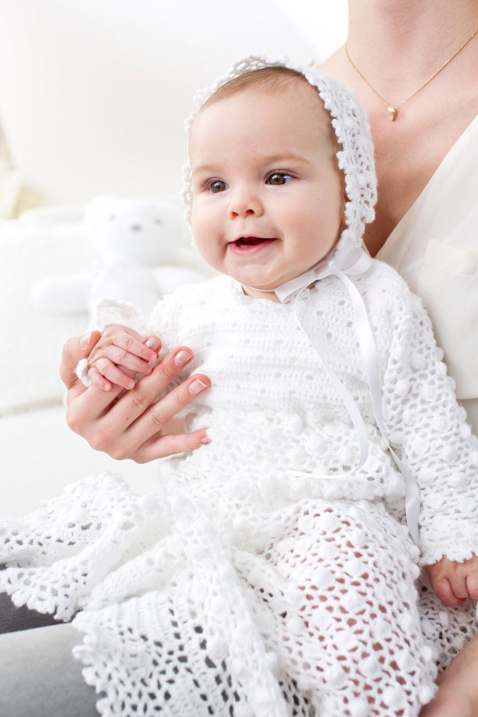 Traditionelle Weiß Satin Lang Taufkleid mit Haube 0 3 6 9 12 Monate