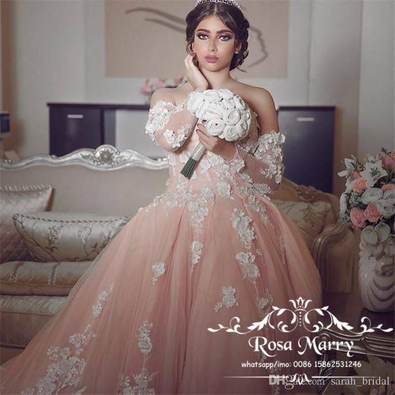 7f561c32396 Blush Pink Ball Gown Cathedral Train Wedding Dresses 2018 3D Floral Beaded  Long Sleeves Plus Size Arabic Dubai Bridal Gowns Vestido De Novia