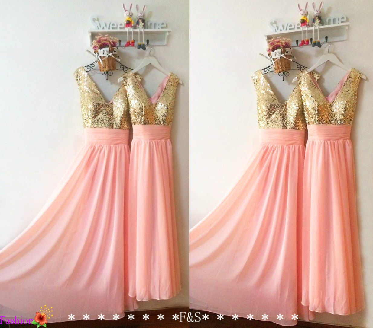 Long blush bridesmaid prom dresspink prom evening dressrose gold