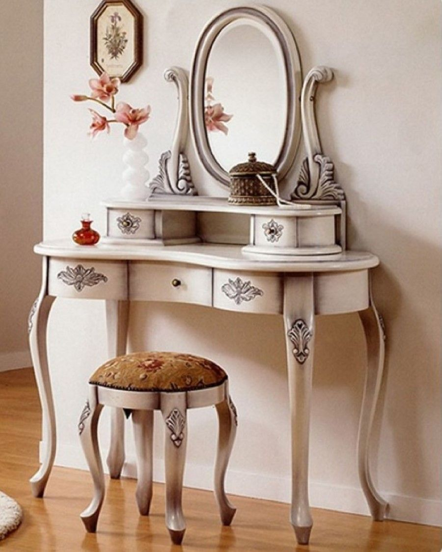 Sleek Laminate Floor With Antique White Vanity Table Set Plus Round Mirror  Also Brown Bench Pad