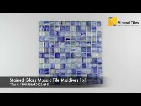 Stained Glass Mosaic Tile Maldives 1x1 Stained Glass Mosaic Tile Glass Mosaic Tiles Mosaic Tiles
