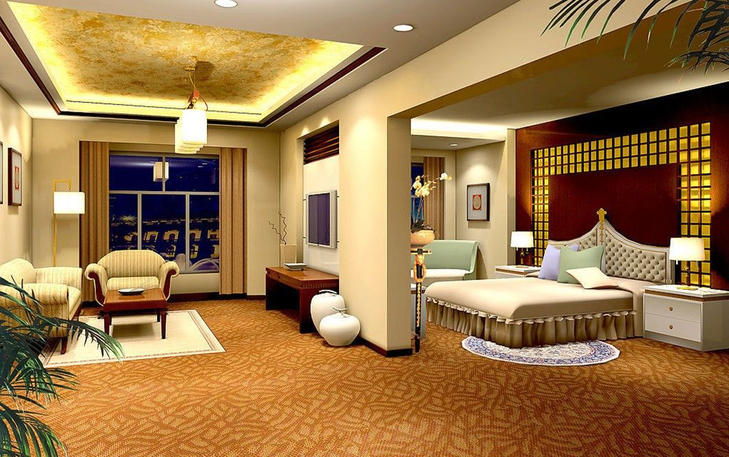 Yellow Bedroom And Living Room Design Night Rendering