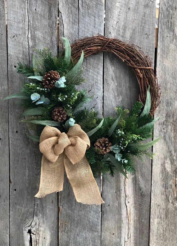 Photo of Door Wreath for Winter, Wreath Winter, Pine, Rustic Wreath for Front Door, Winter Door Wreath, Farmhouse Decorations, Minimalist Wreath