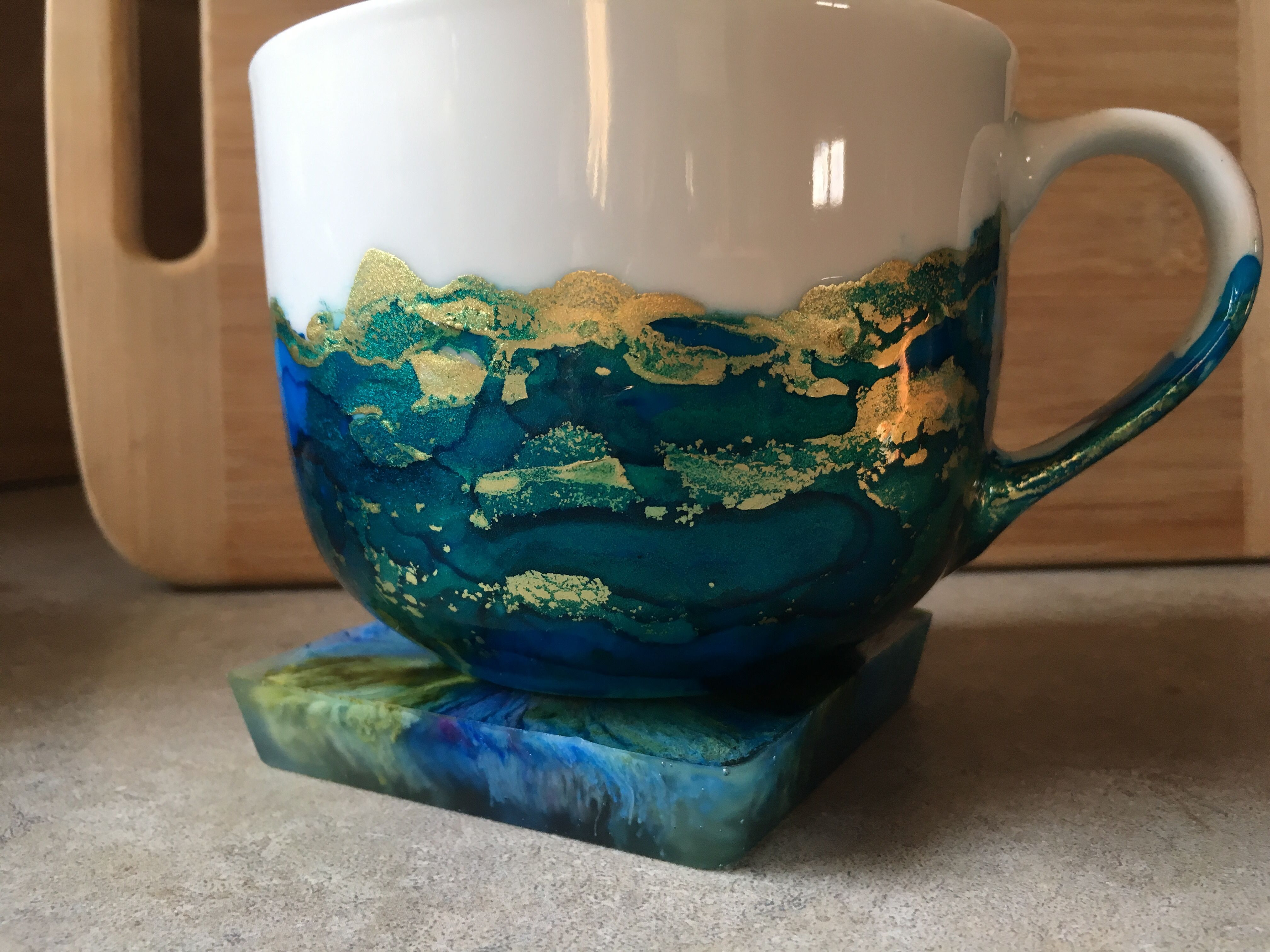 Alcohol Ink Coaster And Mug By Christine Purdy Alcohol Ink