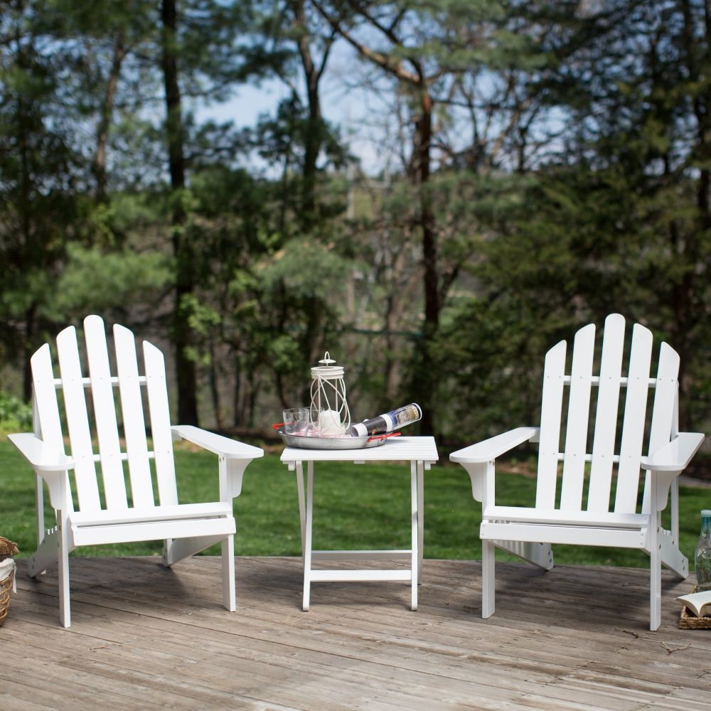 Coral Coast Pleasant Bay Acacia Adirondack Chairs With Side Table   3 Pc.  Set   Painted White   Acacia Wood And Classic Adirondack Style Transform  The Coral ...