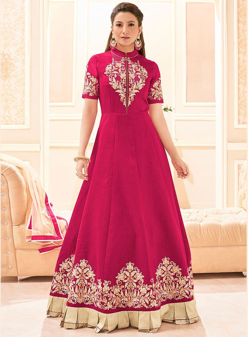 Gauhar khan magenta banarasi silk floor length anarkali suit