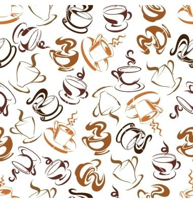 Retro seamless coffee drinks background pattern vector