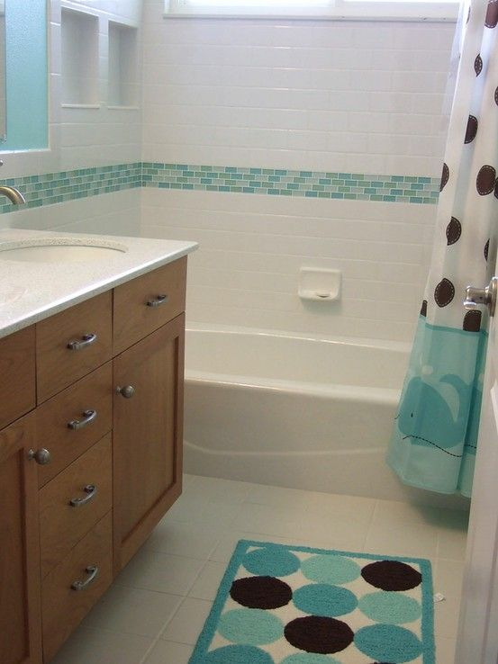 Bathroom Glass Subway Tile subway tile w/ sea glass accent.. but more of a blue glass color