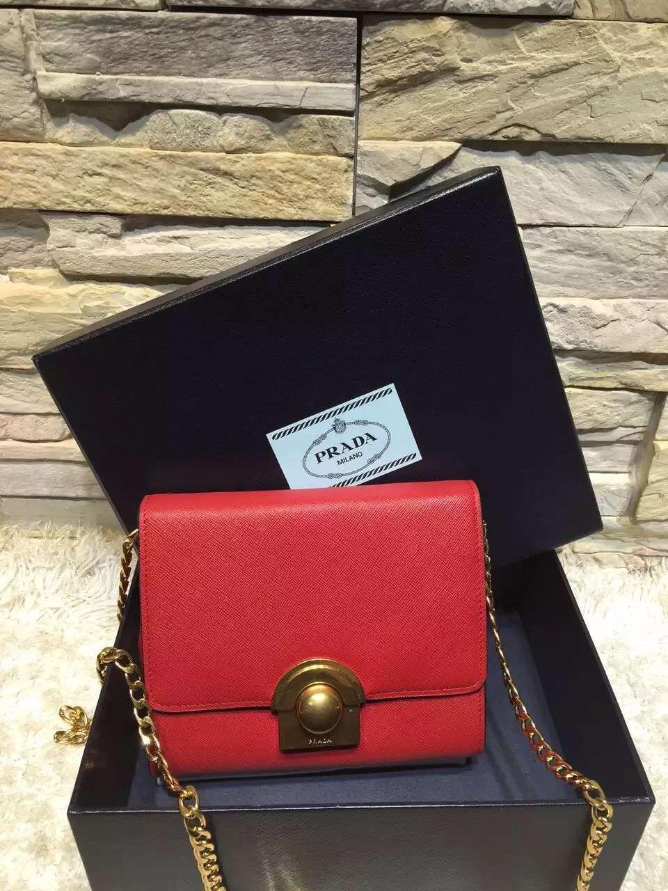 b673f276a499 Prada Saffiano Leather Shoulder Bag 1BH007 Red 2016 | Red Prada Bag ...