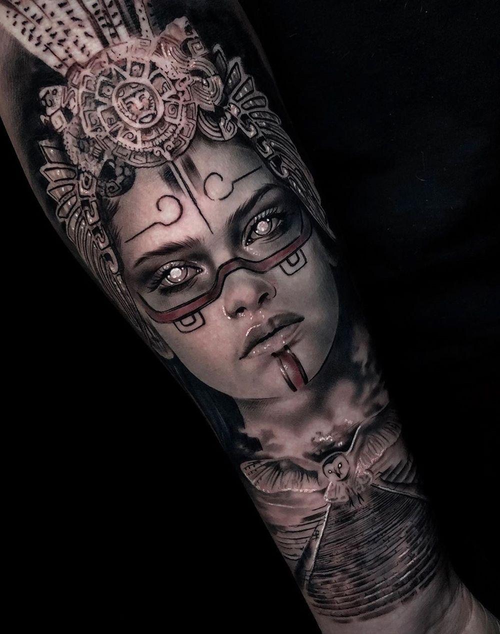 Aztec Warrior Girl Best Tattoo Design Ideas In 2020 Aztec Tattoo Designs Aztec Tattoo Aztec Tattoos Sleeve