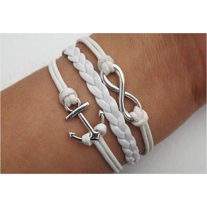 Anchor Bracelet Infinity Bracelet White Leather Bracelet