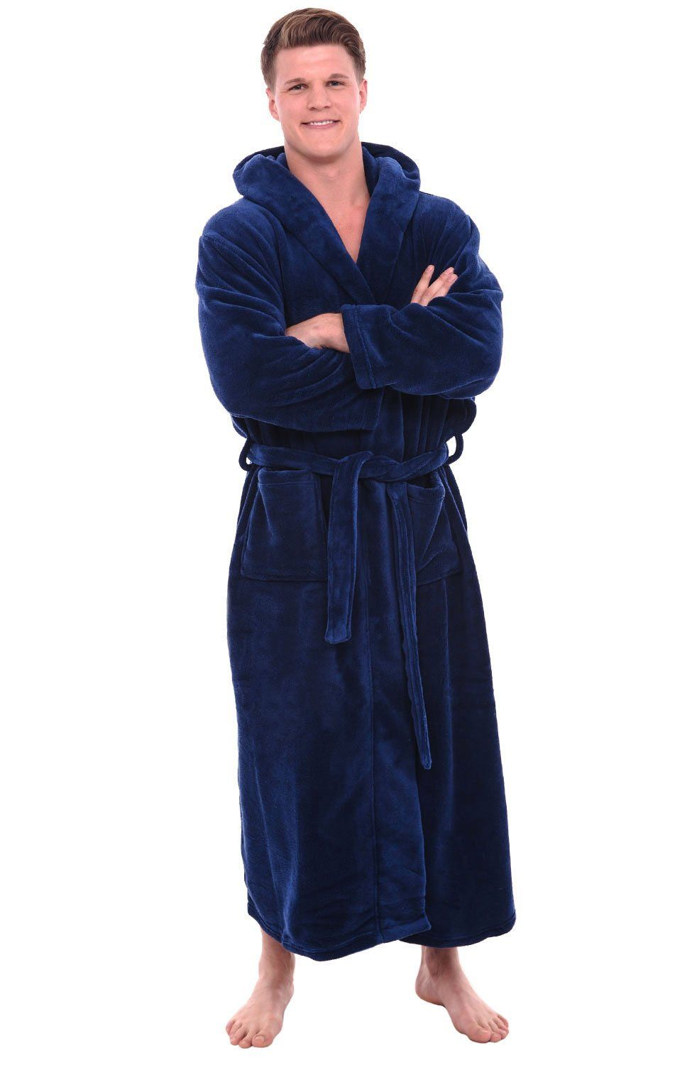 Mens Hooded Fleece Full Length Bathrobe  6250d9bee