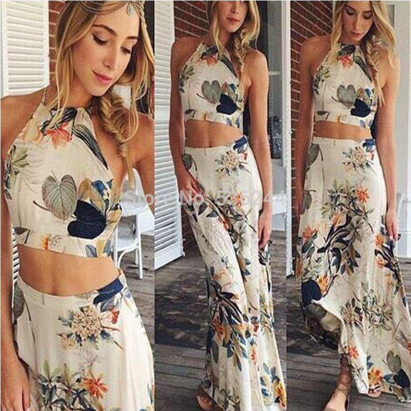 2015 frauen kleiden casual vintage kleid zwei Stücke floral ...