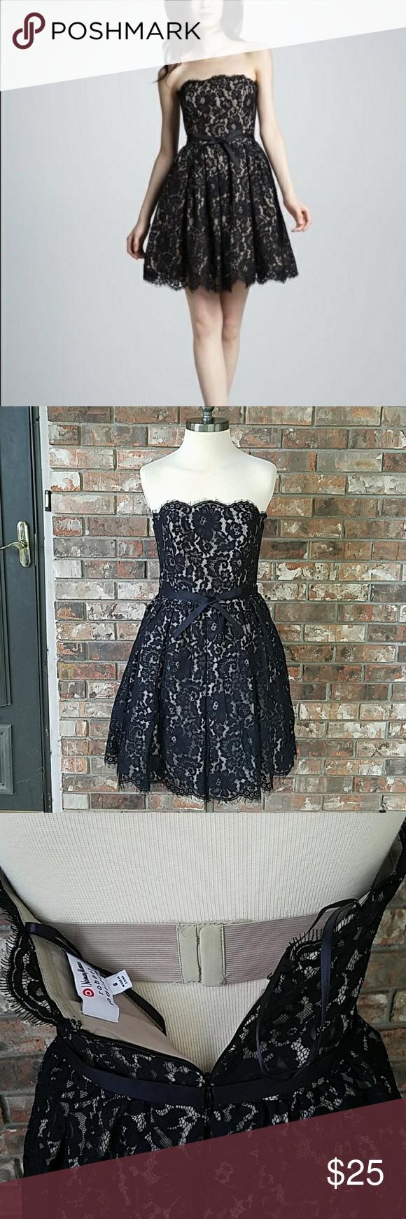032b10cc8e Neiman Marcus Robert Rodriguez for Target Dress Black lace overlay party  dress. Strapless. Knee length. Neiman Marcus Dresses Strapless