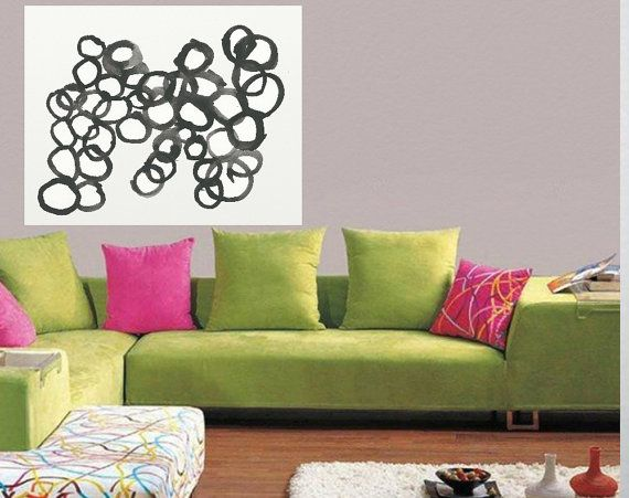 Blackand white Circles  Large Abstract  Acrylic by JerryTitanArt
