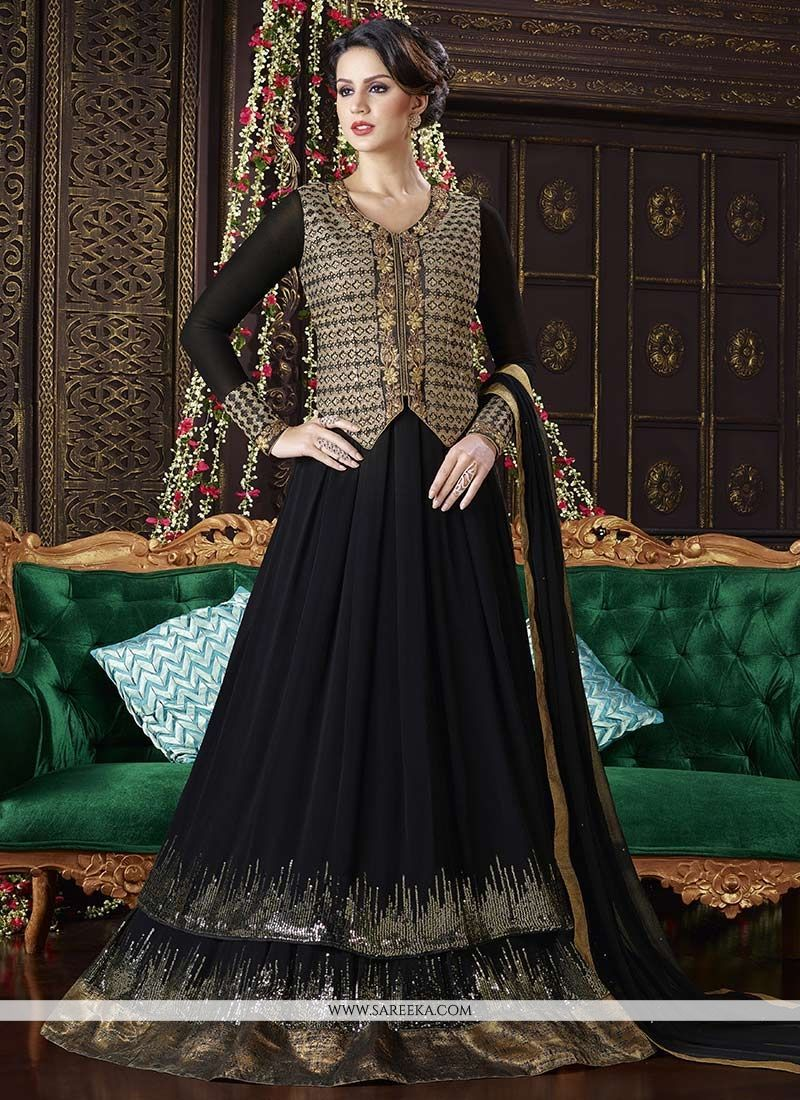 80f62ed81b6 Look ethnic in this sort of a black faux georgette floor length anarkali  suit. The