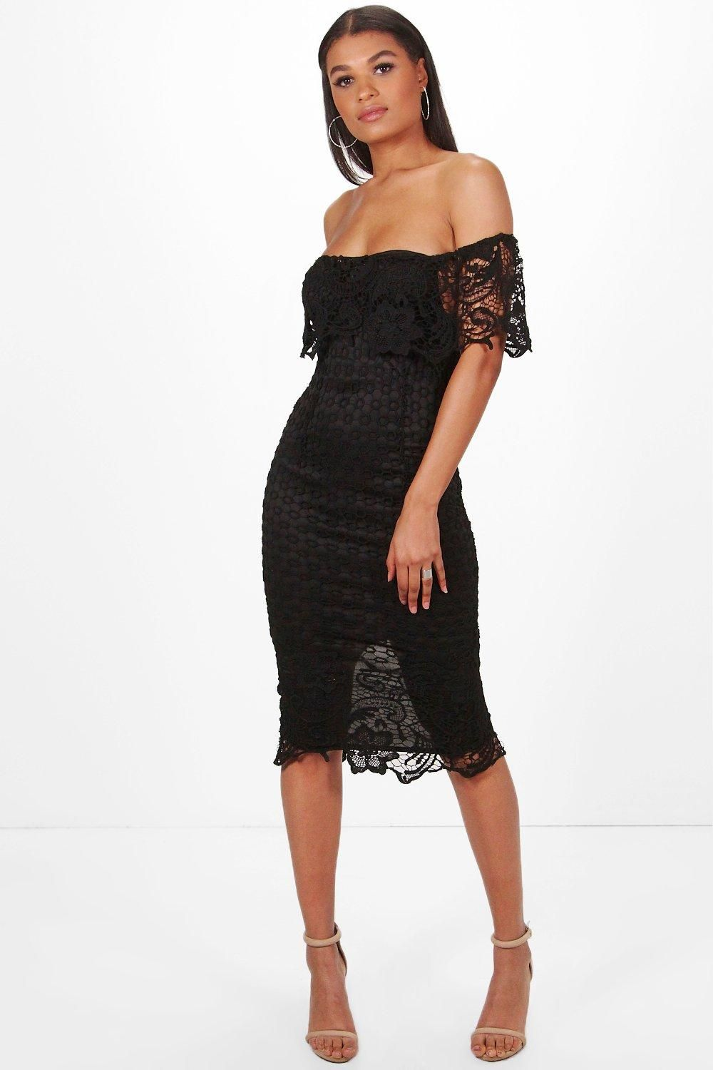 324437e910aaf Click here to find out about the Boutique Di Lace Off Shoulder Midi Dress  from Boohoo, part of our latest Dresses collection ready to shop online  today!
