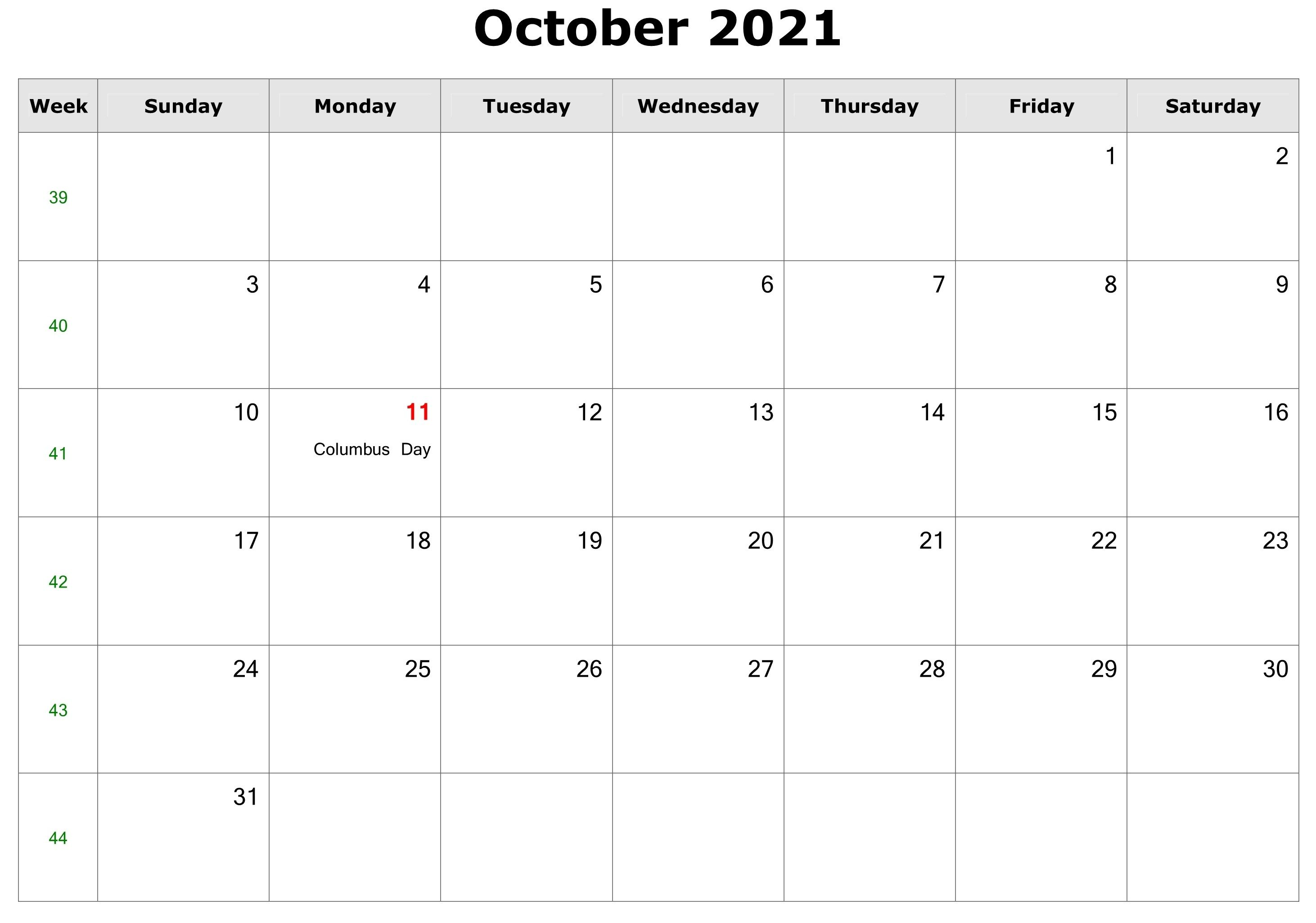 October 2021 Calendar Excel Images