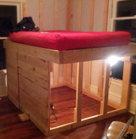 Diy Elevated Kids Bed Frame With Storage Area Loft Bed Frame Bed Frame With Storage Diy Loft Bed