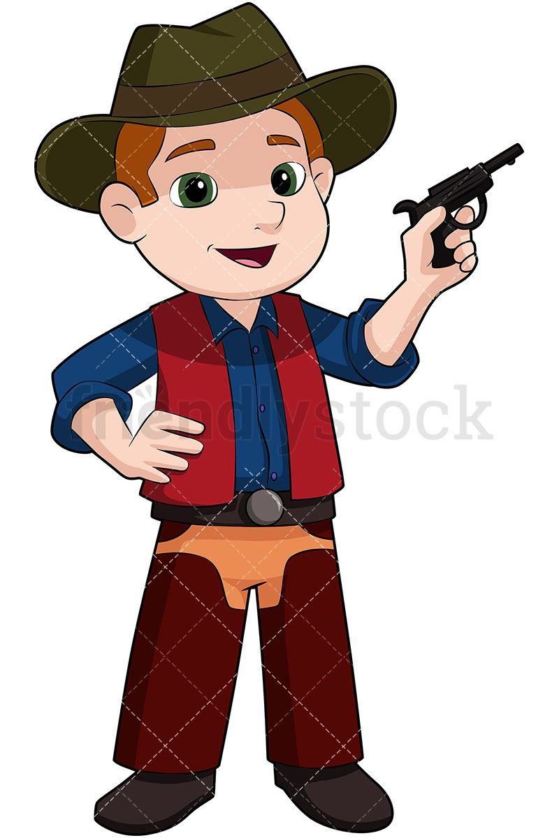 c4c73c62323 Kid Cowboy With Fake Pistol  Royalty-free stock vector illustration of a little  boy wearing a cowboy hat