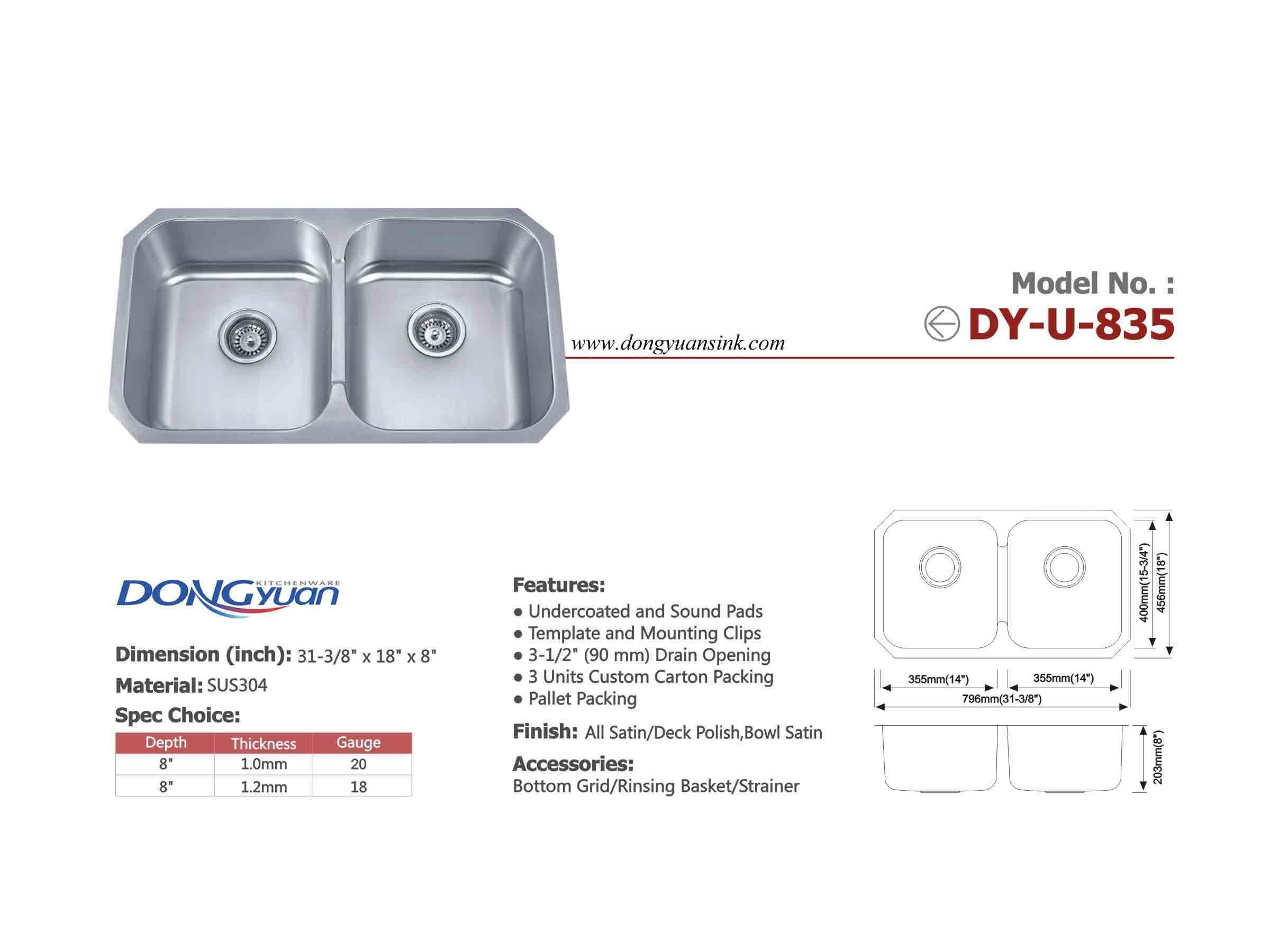 Dongyuan 31 3 8 Inch Undermount Stainless Steel 18 Gauge Double Bowls 50 50 Low Bridge Kitchen Sink Drain Opener Kitchen Sink Undermount Kitchen Sinks