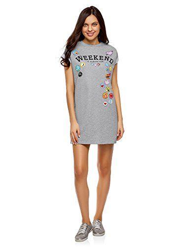 Sur Femme Revers Ultra Robe Imprimé T Et Avec Les Shirt Oodji WEI9DH2