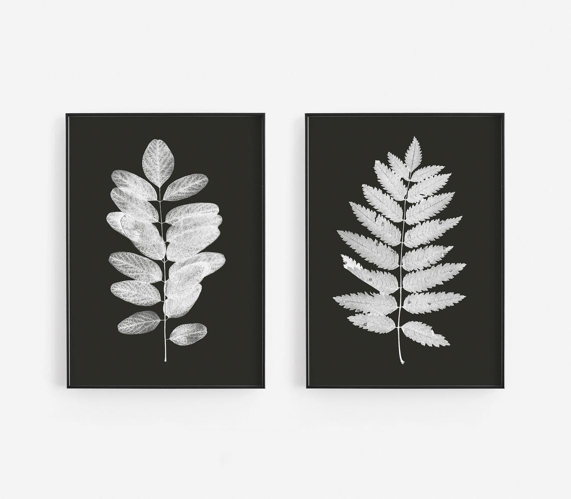 Black And White Leaf Prints Black Botanical Art Prints Etsy