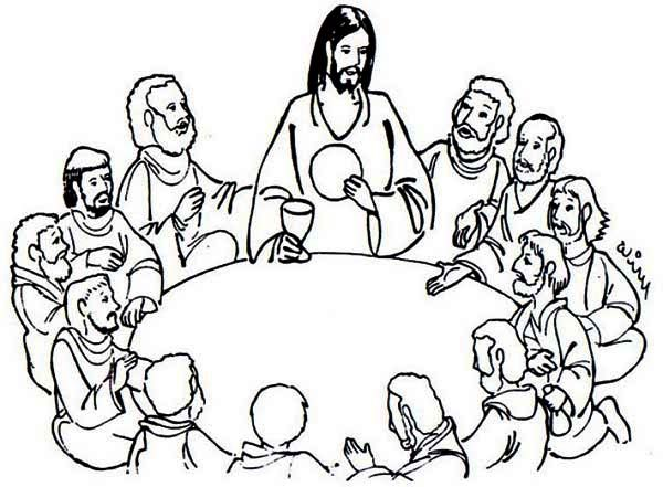 Jesus Sharing Bread and Wine in the Last Supper Coloring Page