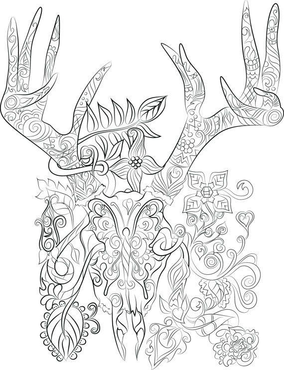 Deer Antler Coloring Pages List Designs Trend