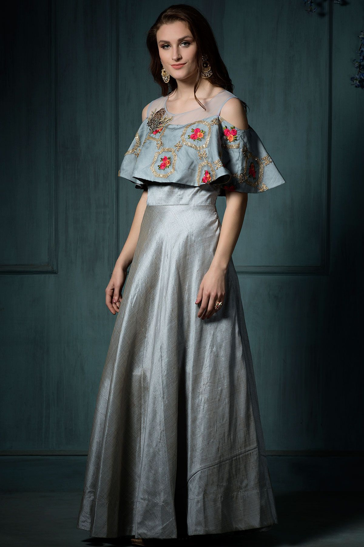 Buy Grey Silk Resham Embroidered Evening Gown Online | Evening gowns ...
