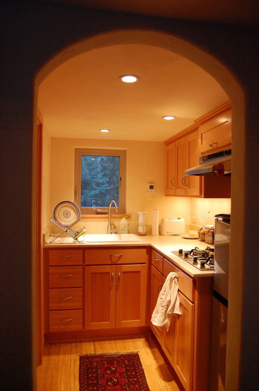 nicely lighted tiny kitchen with lovely natural cabinets micro rh pinterest com