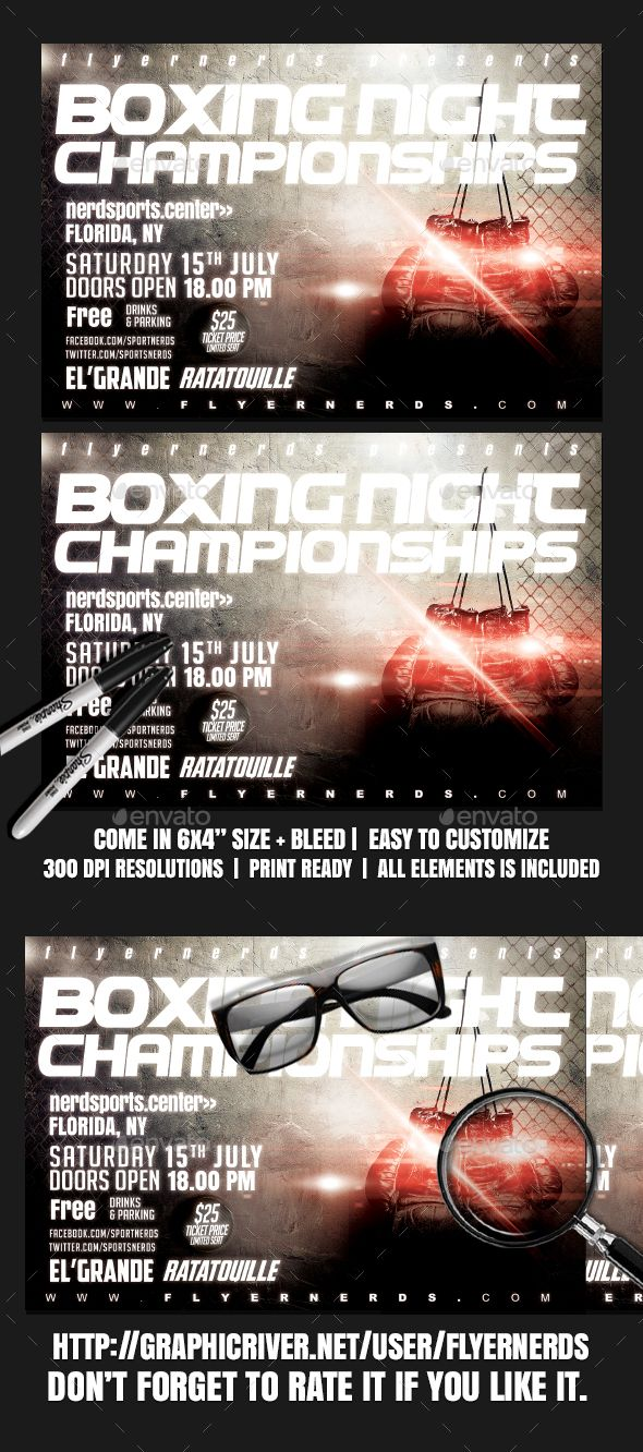 Boxing Night Championships Sports Flyer  Flyer Template Template