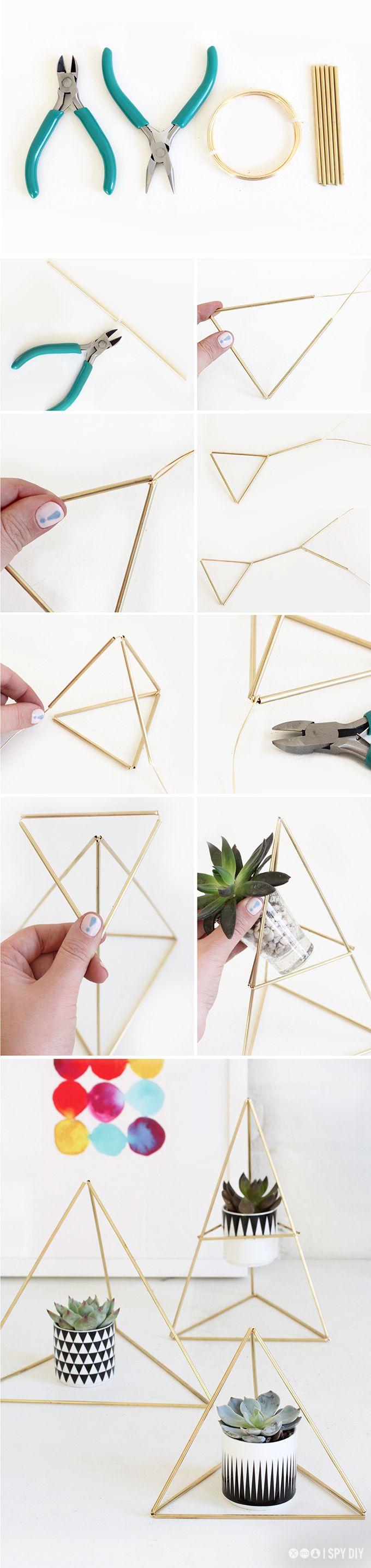 My diy himmeli triangle succulent holder diy manualidades decoraci n para el hogar de - Bricolaje y decoracion ...