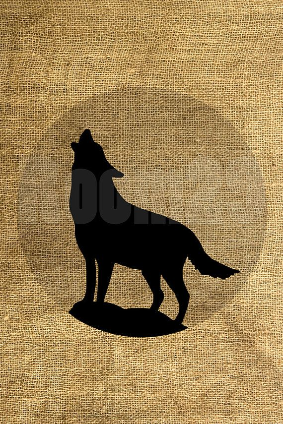 INSTANT DOWNLOAD  Wolf and Moon Illustration  Download by room29