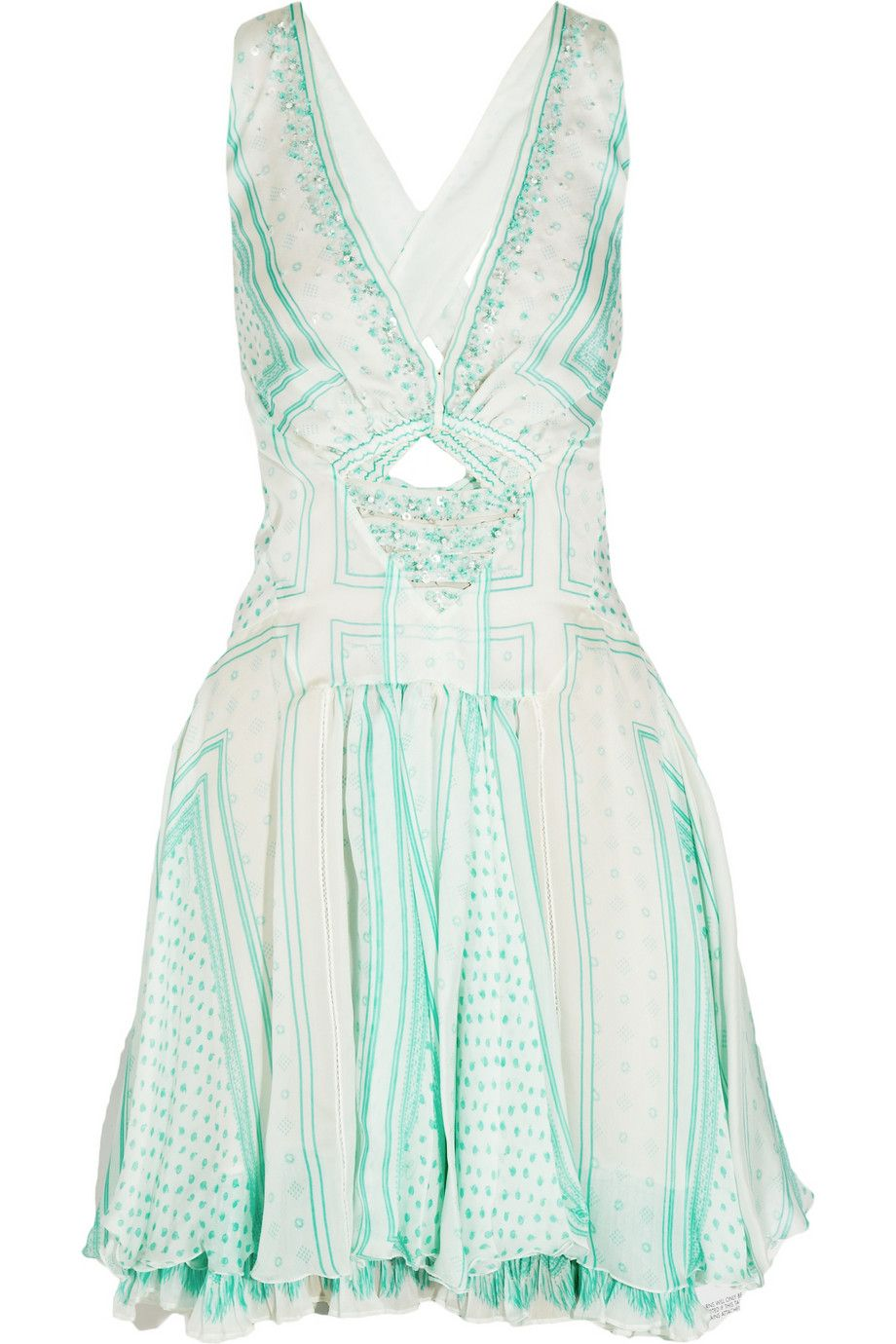 Roberto cavalli printed embellished silkchiffon dress off now