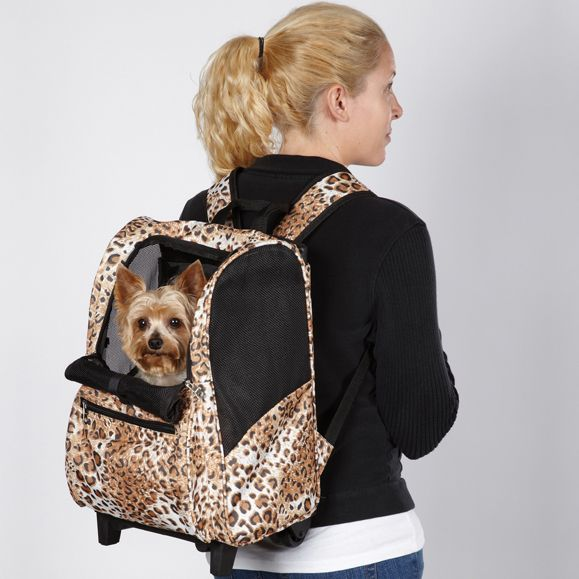 Animal Print Backpack On Wheels Dog Carrier Dogs Travel