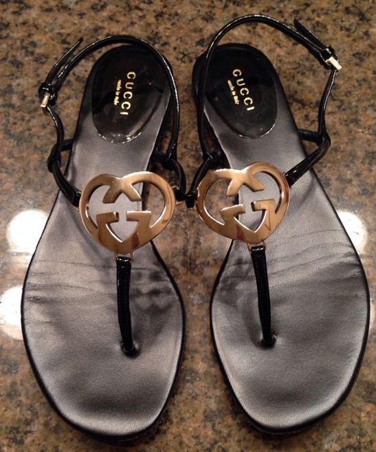 01e0f8d17 Gucci Interlocking Heart Sandals Black 36.5 Patent Leather G Logo Thong  Flats #Gucci #AnkleStrap